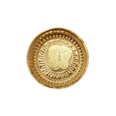 Brass Laxmi Charan Paduka (Golden) in Plate - 76 gm (DILCP-004)