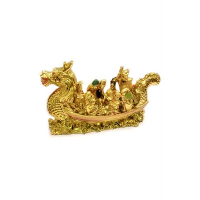 Eight Immortals on Dragon Boat (Golden) - 12 cm
