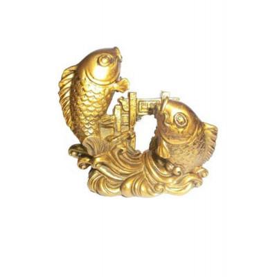 Carp Fish Crossing Dragon Gate in Brass Finishing - 8 cm