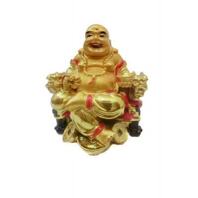Seated Laughing Buddha with Gold Ingots - 8 cm (FELB-005)