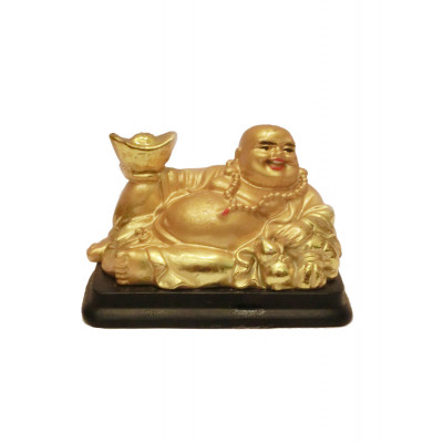Seated Laughing Buddha with Gold Ingots - 6 cm (FELB-009)