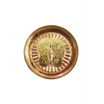Laxmi Charan Paduka (Golden) in Copper Plate - 60 gm (DILCP-006)