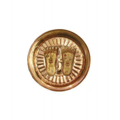 Laxmi Charan Paduka (Multicolor) in Copper Plate - 54 gm (DILCP-001)