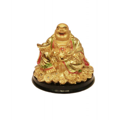 Seated Laughing Buddha with Gold Ingots - 8 cm (FELB-008)