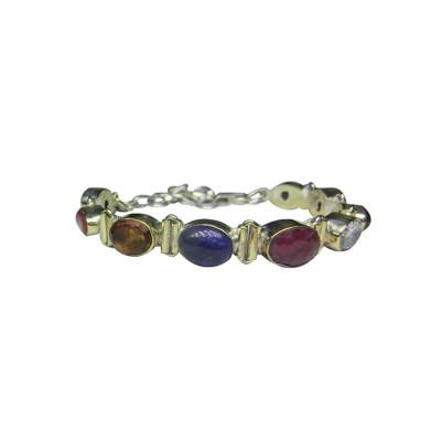 Navratna Bracelet in White Metal (BRNG-003)