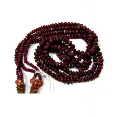 Ruby (Manikya) Rosary / Mala with Two String - 40-50 Ct