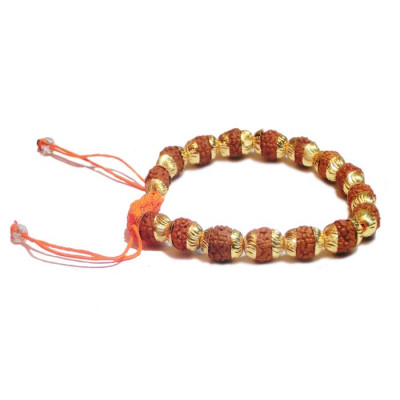 Rudraksha Adjustable Bracelet in Gold (RUGC-001)