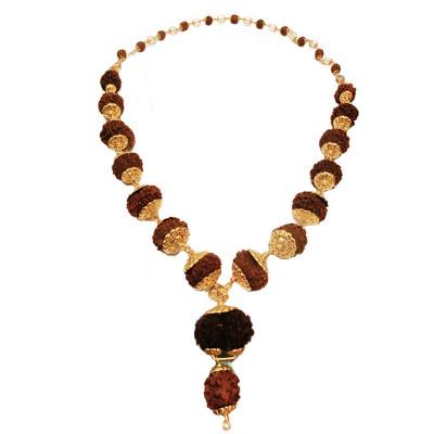 Siddha Mala (1 to 14 Face, Gaurishankar, Ganesh Rudrakshas) -(24 Carat Gold Plated)-(MARS-004)