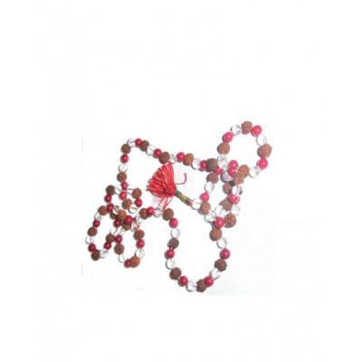 5 Mukhi Rudraksha Sphatik Munga Mala / Rosary (MARU-006)- (INDIA)