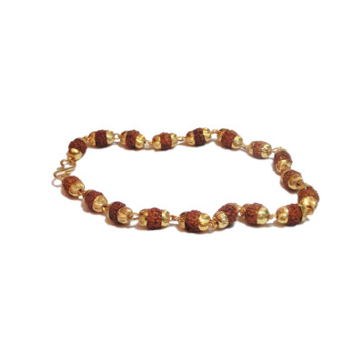 5 Mukhi Rudraksha Bracelet in Golden Capping (RUGC-001)