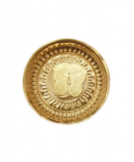 Brass Laxmi Charan Paduka (Golden) in Plate - 76 gm (DILCP-004)