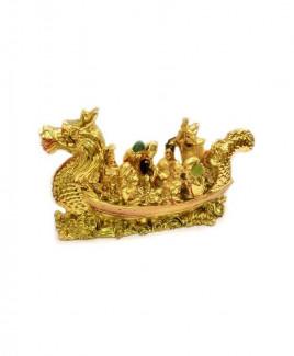 Eight Immortals on Dragon Boat (Golden) - 12 cm