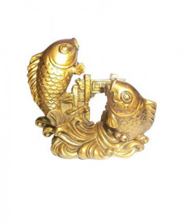 Carp Fish Crossing Dragon Gate in Brass Finishing - 8 cm (FECF-002)