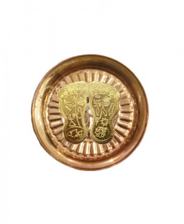 Laxmi Charan Paduka (Golden) in Copper Plate - 60 gm (DILCP-006)