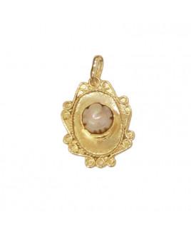 Ganesh Pearl (Moti) Oval Shaped Pendant (PEGP-002)