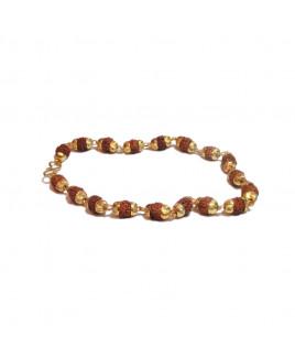 5 Mukhi Rudraksha Bracelet in Golden Capping (RUGC-001)- (NEPAL)