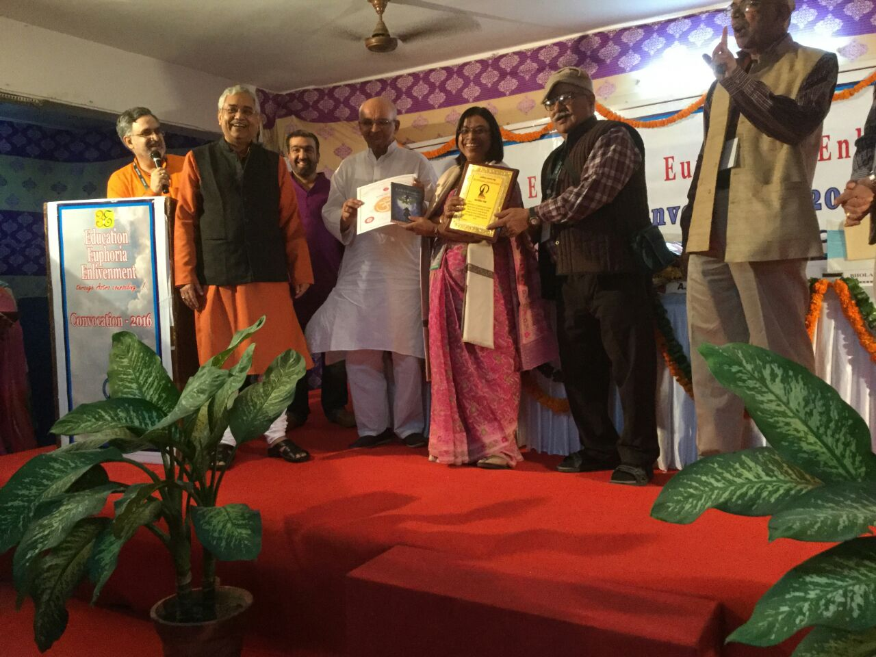 Honoring Anita Baranwal, Senior Lecturer, ICAS, Noida Chapter. Also in pic A.B. Shukla, Suresh Chandra Mishra, M. N Kedar, Bhola Nath Shukla, Ashish Sharma, Pradeep Chaturvedi.