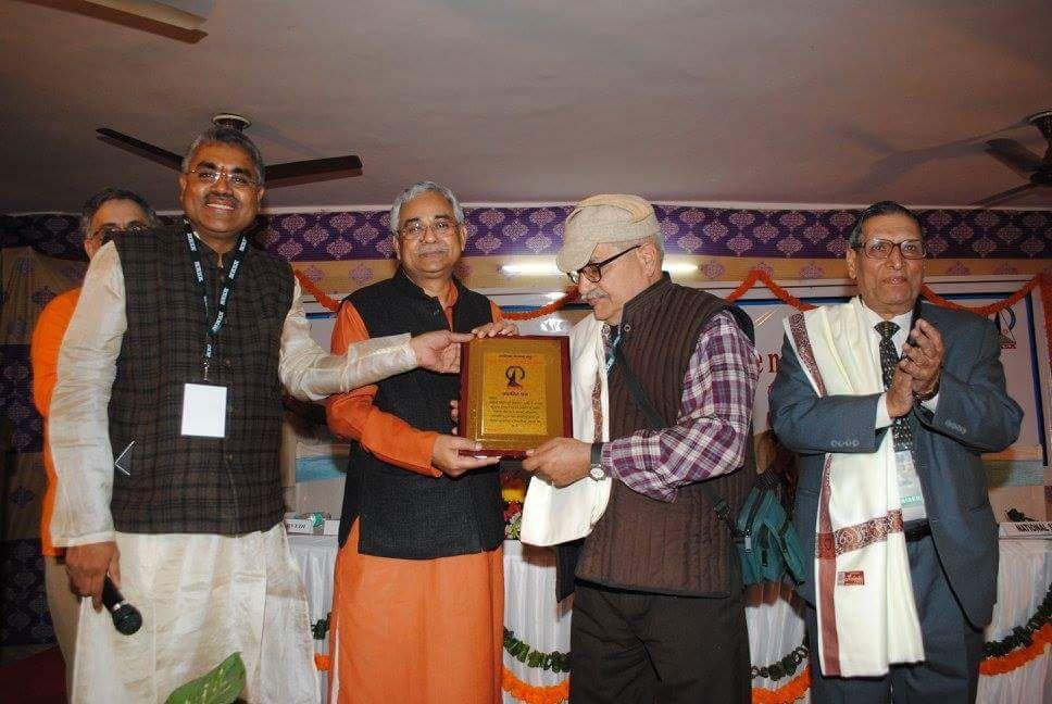 Great honor. In pic MN Kedar, SN Kapoor, A.B. Shukla, Pradeep Chaturvedi in Blog by Achary Kalki Krishnan on AstroDevam.com